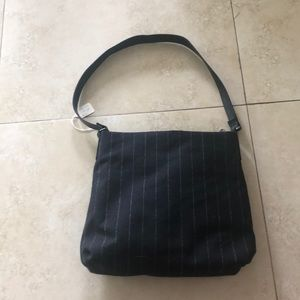 Black with White stripe fabric purse